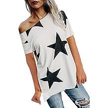 LEvifun Camisetas Mujer Manga Corta Camisetas Mujer Verano Blusa Mujer Impresión De Pentagrama Tops Mujer Casual