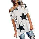 ESAILQ Frauen Mädchen Strapless Star Sweatshirt Langarm Crop Jumper Pullover Tops (M, Weiß)