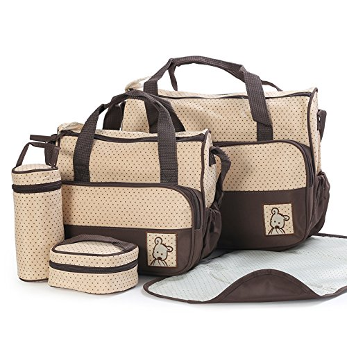 technotec-multi-function-baby-diaper-nappy-bag-mummy-changing-set-handbag-brown