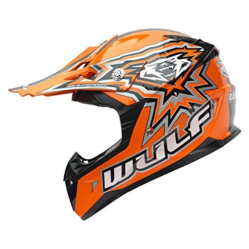 Wulf Cub Flite-Xtra Kinder Jugend Motocross Enduro Helm L Orange