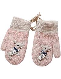 QinMM Unisex Bebé Niños y Niñas Manoplas con Cuerda Invierno Cálido Forrado de Felpa de Punto