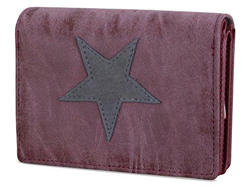Damen Luxus Canvas Stern Geldbörse Geldbeutel Brieftasche Portemonnaie Damenbörse Börse (Bordeaux/Grau)