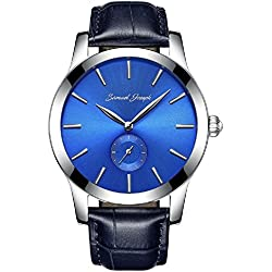 Designer Samuel Joseph Limited Edition Bespoke Blue Men's Smart Wrist Watch - 43MM Stainless Steel Case, Genuine Navy Leather Strap