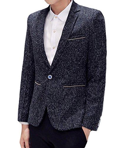 Homme Costume Veste Printemps Automne Chic Mince Affaires Casual Décontraction Un Bouton Elegant Noir