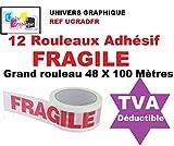 12 Rouleaux Adhésif FRAGILE - 48 X 100 MÈTRES- (40% de plus que les 66 mètres)- rouleau pour emballage, expédition - ruban adhésif de haute qualité idéal pour carton, emballage, expédition et stockage marque UNIVERS GRAPHIQUE référence UGRADFR