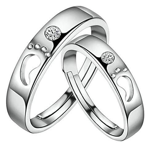 Gnzoe Men Wedding Bands Rings Cubic Zirconia Footprint Adjustable Rings 3mm/4mm (Price One Pc)