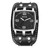 Mode Sport Cuff Uhr Rechteckiges Zifferblatt PU Leder Breites Uhrenarmband Quarz Herrenuhren Armbanduhren für Herren, Schwarz