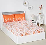 #7: Solimo Jasmine Zest 144 TC 100% Cotton Double Bedsheet with 2 Pillow Covers, Peach
