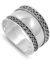925 Bague en Argent Fin - Design Bali - Hauteur Frontale: 12 mm