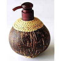 Exotic Elegance Liquid dispenser Pump Refillable Empty Coconut Shell bottiglia.