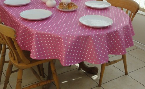 THE TABLECLOTH COMPANY 140 x 250 cm Ovale en PVC/Vinyle Nappe – Rose à Pois – 8 Places