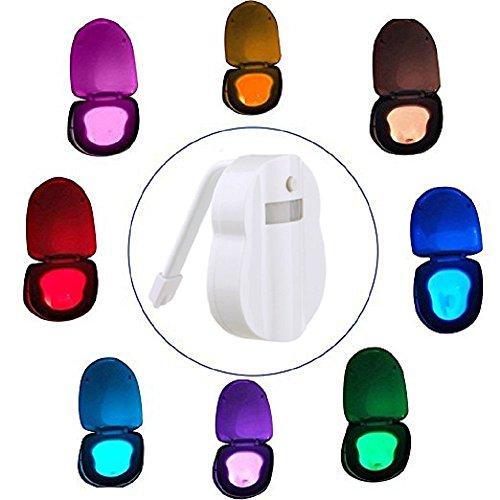 Xuanlan Servizi Lgienici Night Light, LED Auto Sensor Motion Activated Toilet Bowl Luce 8 Colori (Notte Bagno Luce Decor)