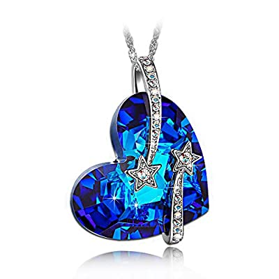 LADY COLOUR - I love you to the moon and back - Necklace for Women with Crystals from Swarovski - CRYSTAL HEART collections