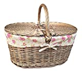 Deep antike Optik, lasiert, Weide, Oval, mit Deckel, abnehmbares Innenfutter aus Baumwolle, Vintage Rose