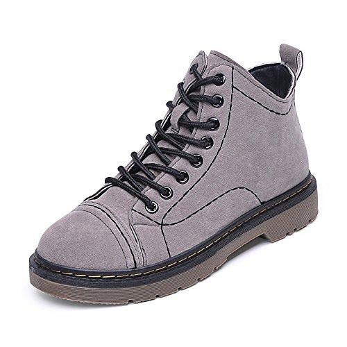 Autunno e Inverno Scarpe Stivali di Martin coreano scarpe casual bare Stivali Stivali in pizzo cavaliere stivali gray