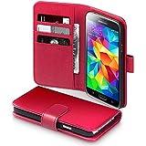 Terrapin Echt Leder Brieftasche Case Hülle mit Kartenfächer und Bargeld für Samsung Galaxy S5 Hülle Rot