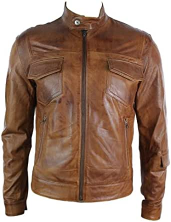 Aviatrix Mens Real Leather Jacket Biker Vintage Brown Zipped Pockets Casual Fitted Retro