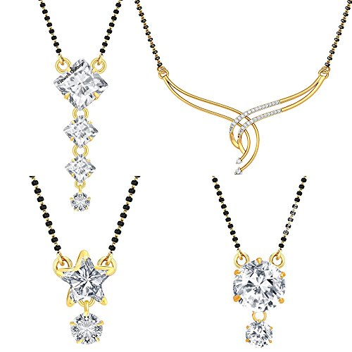 Jewels Galaxy Traditional Designer Collection of Elegant American Diamond Mangalsutra - Set Of 4