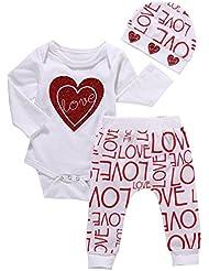 Longra Bébé Fille AMOUR Cœur Lettre Impression Chemise+Longue Pantalon+Chapeau