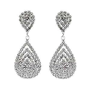 Genevieve - Beautiful Earring set, Bridal Wedding Jewelry, Dazzle ~ Crystal ~ Dangle ~ Fashionable 3D Earrings, Silver