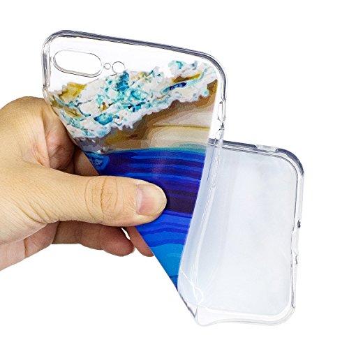 Coque iPhone 7 Plus, iPhone 7 Plus Coque Silicone Transparent, SainCat Ultra Slim Transparent TPU Silicone Case Cover pour iPhone 7 Plus, Coque Anti-Scratch Crystal Clear Soft Gel Cover Coque Fleur Tr Deep Blue Sea