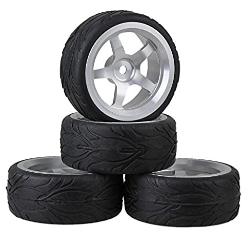 Black Fish Scale Pattern Rubber Tires and Silver Aluminum Wheel Rims With 5 Spoke For RC 1:10 On Road Racing Car Pack Of 4