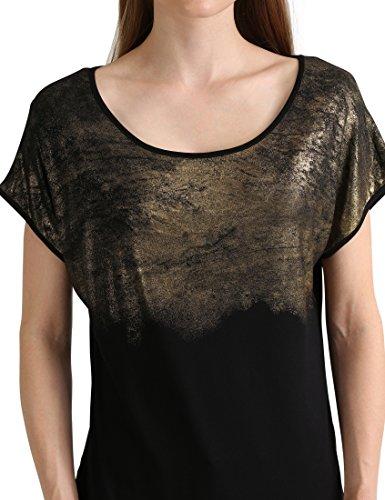 Berydale BD299 Loose Fit T-Shirt Donna, Multicolore(Schwarz/Gold (Spray Effect)), Taglia produttore 46/48