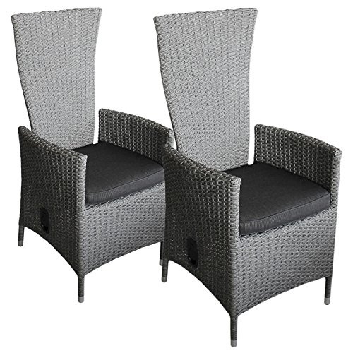 Best Stck Poly Rattan Sessel Rattanstuhl Gartenstuhl Relaxsessel Rckenlehne  Stufenlos Verstellbar Graumeliert With Ohrensessel Verstellbar
