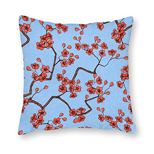 DKISEE Cherry Sakura Blossoms Decorative Square Cotton Canvas Throw Pillow Cover Case Cushion Sham for Couch, Sofa, Bedroom, Car, 16x16 inch/40x40cm -