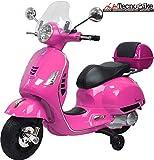 Tecnobike Shop Moto Elettrica Piaggio per Bambini Vespa GTS B70592 con Parabrezza e Bauletto Rotelle 12V luci LED Suoni (Rosa)