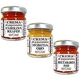 3 CREME PICCANTE ESTREMO Carolina Reaper, Moruga Oro, Bhut Jolokia Red - Crema di Peperoncino KIT 30g x 3 pz