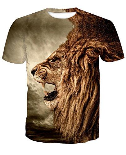 Yue Lian Herren 3D Löwe Muster Drucke Lässige Hemd Sport Tops T-Stücke T-Shirts(China 2XL:EU 48/Löwe A)