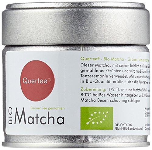 Quertee – Matcha Set – Bio Matcha Tee – 30 g Dose PLUS Original japanische Matcha Schale – 400 ml PLUS Matcha Besen Chasen – Matchabesen PLUS Matcha Bambuslöffel Chashaku, 1er Pack (1 x 30 g)