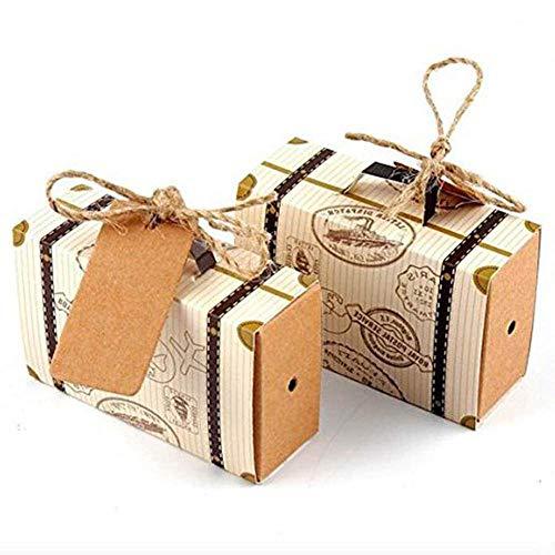 Hondex Koffer Süßigkeiten Geschenkbox 50 Stücke Mini Koffer Karton Geschenk Taschen für Hochzeit Geburtstag Party Süße Schokolade Boxen Weihnachtsdekoration