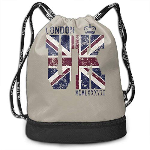 ewtretr Turnbeutel Hipster Sporttaschen London UK Flag Multifunctional Bundle Backpack Shoulder Bag for Men and Women -