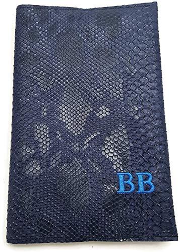 Semainier agenda de poche 2019 - simili cuir vegan bleu dragon de Komodo - broderie initiales ou nom - déc à déc - 16x24 cm ou 9x12,5 cm