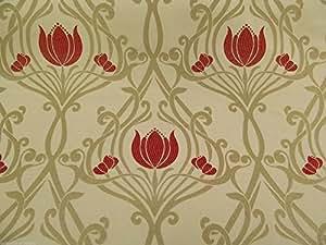 SMD Lalique Tissu rideau art déco rouge