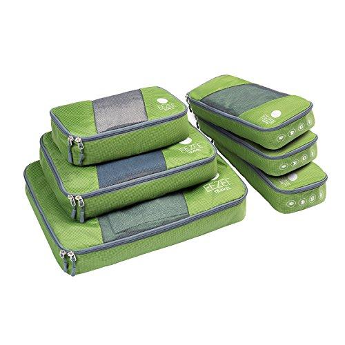 EEZEE Bolsas Organizadoras de Ropa para Viajes o Armarios, Cremallera a 2 Vías, Tapa Semi Transparente, Resistente, 6 Unidades  (1 × Grande, 1 × Mediana, 1 × Pequeña, 3 × Delgadas), Color Verde