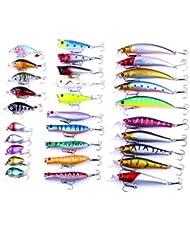 Bntteam 30pcs/lot Ensemble de leurres de pêche Manivelle appâts Mini Crankbait 3d Fish Eye artificiel Leurre Appât avec plumes réaliste Siumlation Faux Leurre