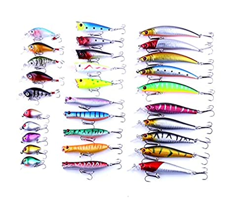 BNTTEAM 30pcs/lot Fishing Lures Set Crank Baits Mini Crankbait 3D Fish Eye Artificial Lure Bait with Feather Lifelike Siumlation Fake