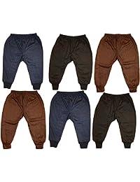 Kids Baby Boys and Girls Woollen Winter Body Warmer Solid/Plain Thermal Pyjama Bottom Pack of 6