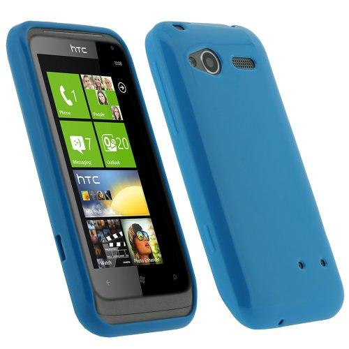igadgitz Blau Glanz Dauerhafte Kristall Gel Skin TPU Tasche Schutz Hülle für HTC Radar C100e Windows Smartphone Mobile Phone Handy + Display Schutzfolie