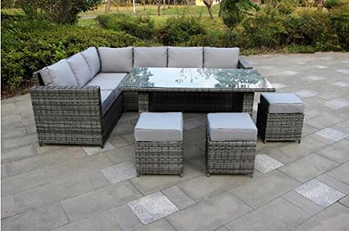 Grey Rattan Garden Furniture Uk Yakoe 50108 conservatory classical range 9 seater rattan garden yakoe 50108 conservatory classical range 9 seater rattan garden furniture corner dining set grey workwithnaturefo