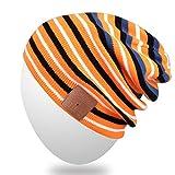 MYDEAL Bluetooth Strickmütze, Slouchy Skully Streifen Cap mit drahtloser Bluetooth-Kopfhörer Musik Audio Freisprech-Telefon-Anruf für Wintersport Fitness Gym Übung Workout - Schwarz/Orange