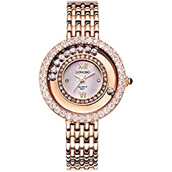 LONGBO Womens Fashion Roman Numral Crystal Rhinestone Accented Big Face Case Lady Dress Watch Rose Gold Bracelet Wrist Watches Girl Analog Quartz Full Stainless Steel Bangle Watches