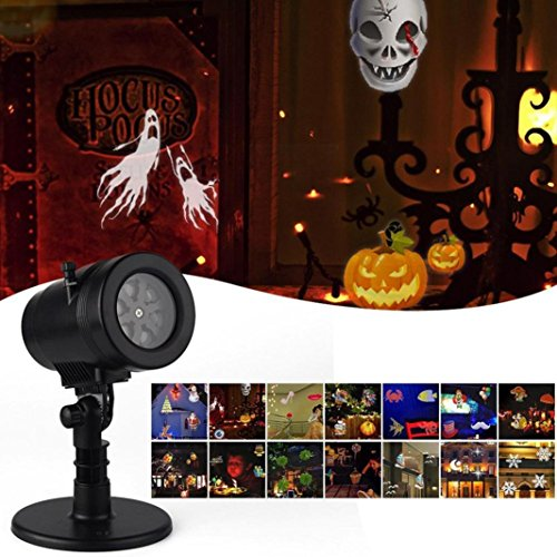 JIANGFU Weihnachten Halloween LED Projektionslampe,LED-Projektor 14 LightPatterns Schneeflocke-Landschaft für Weihnachten Halloween