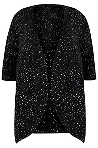 Yoursclothing Plus Size Womens Sequin Embellished Knitted Batwing Cardigan Size 22-24 Black