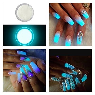 Glow In the Dark Fluorescent Acrylic Powder Pre Mix Nail Extension Art Design Fake Tips Builder White Day Aqua Night 5ml Pot