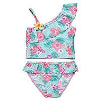 iiniim Girls Two Piece Tankini Swimsuit With Ruffle Skirt Fashion Floral Swimming Coustume Light Green 5-6 Years