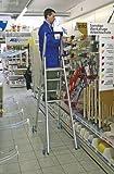 Alu-Stufenstehleiter, fahrbar, 10 Stufen